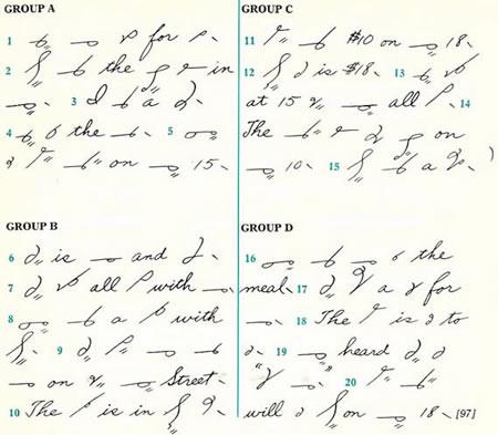 steno writing alphabet
